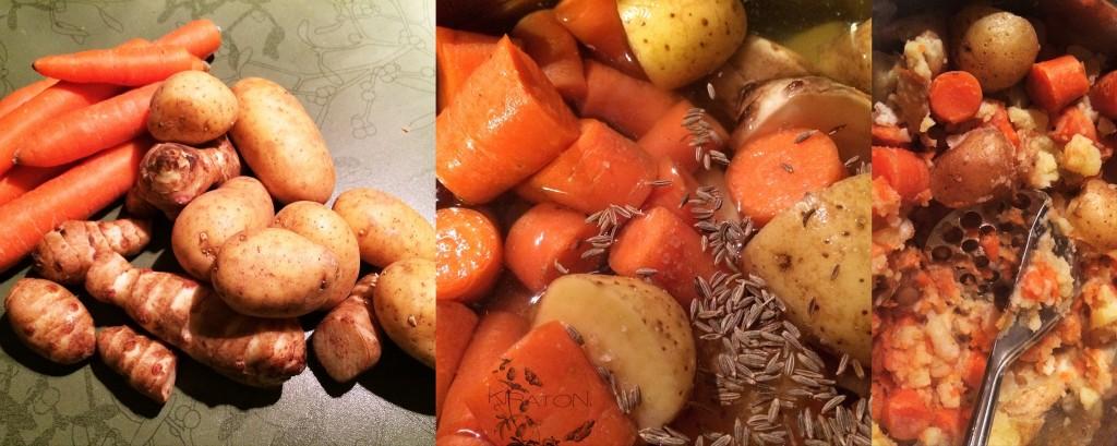 Topinambur-Kartoffel-Karotten-Püree