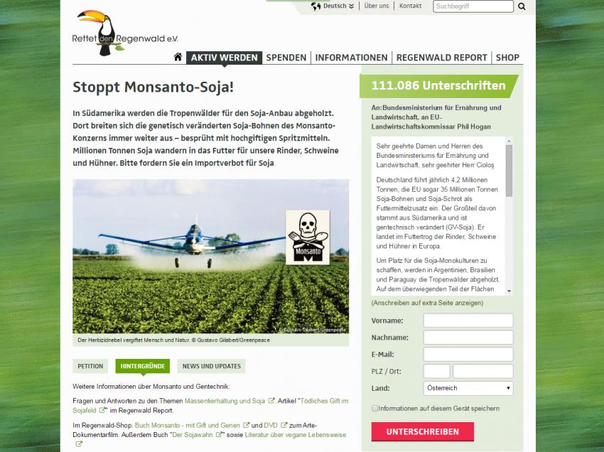 Importverbot für Soja – Jetzt Petition unterschreiben!