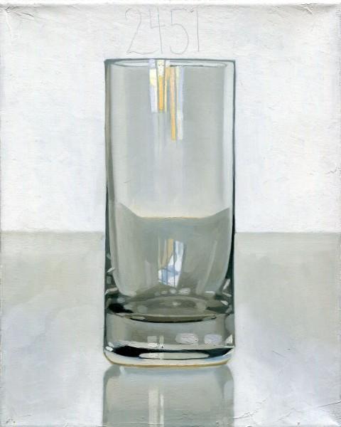 Peter Dreher, Tag um Tag guter Tag, Das Glas, 1974 bis heute, Öl auf Leinwand, 25 x 20 cm | Courtesy WAGNER + PARTNER. © Bildrecht, Wien 2014