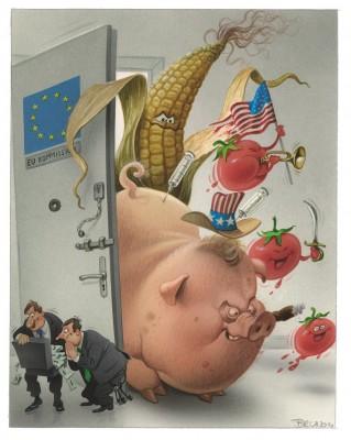 Bild: Bruno Haberzettl, Die EU-Kommission weiß genau, was uns Bürgern zu unserem Glück fehlt! – Unbegrenzter, amerikanischer Ernährungstraum …, 2014 | © Bruno Haberzettl