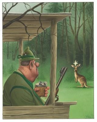 Bild: Bruno Haberzettl, Zum Glück gibt es ja Jäger! Selbst ernannte Naturexperten, die wissen, dass mit einem gezielten Flintenschuss jedes Problem zu lösen ist, 2014 | © Bruno Haberzettl