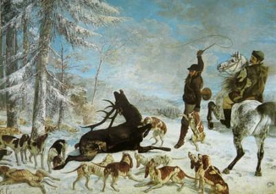 Gustave Courbet, Hirschjagd im Winter, 1867, Öl auf Leinwand, 355 x 505 cm, Musée des Beaux-Arts et d'archéologie de Besançon | Public Domain