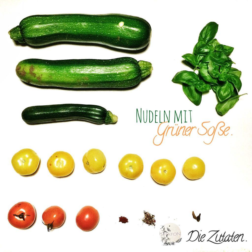Nudeln mit grüner Soße