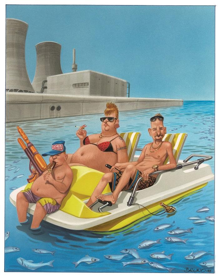 """Bild: Bruno Haberzettl, """"Ist wurscht, wir sind keine großen Fischesser!"""" - Nur keine Sorgen im Urlaub …2011   © Bruno Haberzettl"""