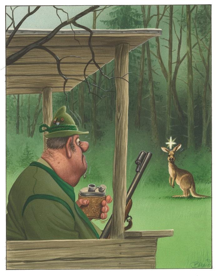 Bild: Bruno Haberzettl, Zum Glück gibt es ja Jäger! Selbst ernannte Naturexperten, die wissen, dass mit einem gezielten Flintenschuss jedes Problem zu lösen ist, 2014   © Bruno Haberzettl
